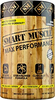 Smart Muscle MAX Performance - CLINICALLY DOSED Natural PREWORKOUT - NONGMO Powerhouse with PurCaf® Organic Caffeine is The cleanest Most Effective Training Supplement Ever Made or Your Money Back.