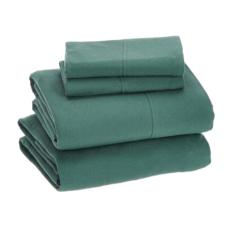 Amazon Basics Cotton Jersey Green Bed Sheet