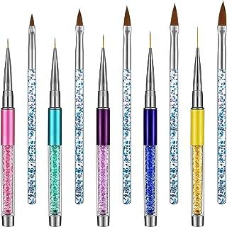 10 Pieces Nail Art Brushes Set Nail Liner Brush Nail Painting Pen Brushes Acrylic Rhinestone Handles Nail Art Design Pens