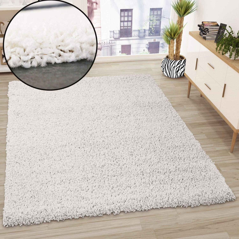 VIMODA Alfombra Prime Tipo Shaggy de Pelo Largo en Color Blanco, alfombras Modernas para el salón y el Dormitorio, Monocolor, Maße:80x150 cm: Amazon.es: Hogar