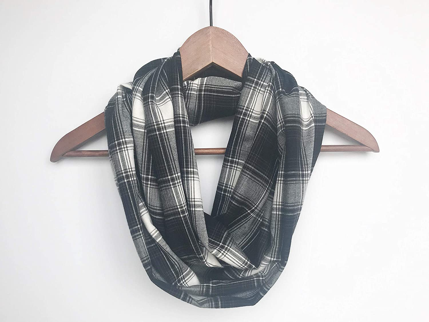 Max 40% OFF Plaid Infinity Scarf For 4 years warranty Gift Woman Birthday Rayon