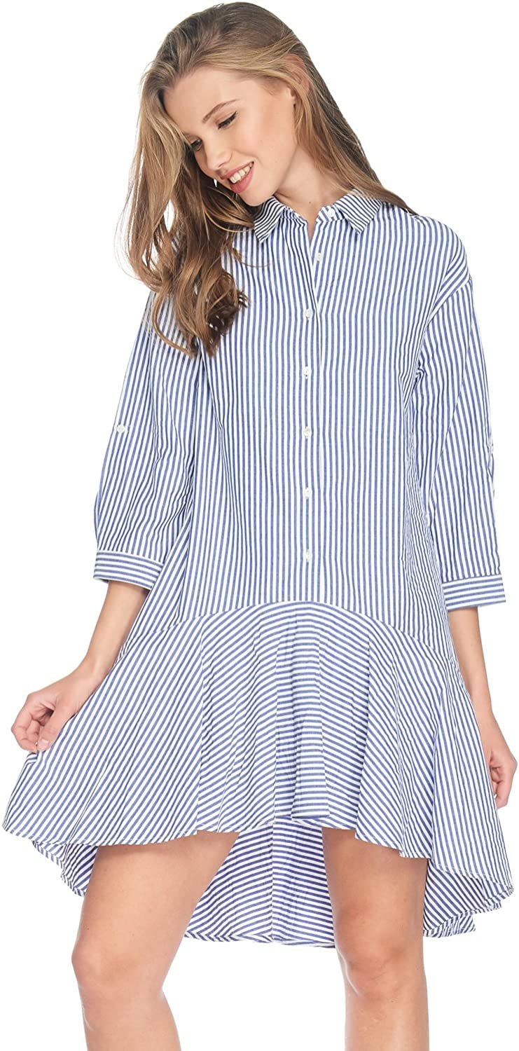 Alexander + David Womens Casual 3 4 Sleeve Stripe Buttondown Shirt Midi Dress