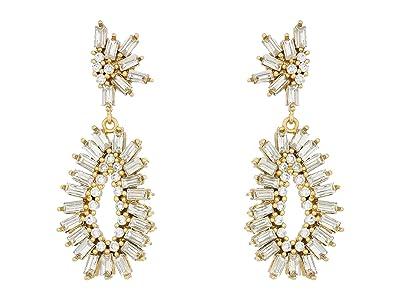 SOLE / SOCIETY Double Drop Earrings (12K Soft Polish Gold/Crystal 1) Earring