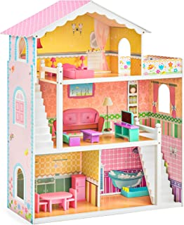 Best Choice Products 44in 3-Story Wood Dollhouse Mansion Playset, Large Open Pretend Play w/ 5 Colorful Rooms, 17 Furniture Pieces, Compatible w/ Major Brands