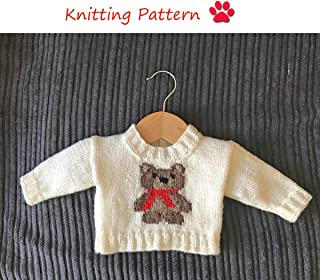 Jumper with Teddy Bear Motif Knitting Pattern to fit 0-36 month old baby/toddler