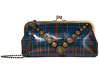 Patricia Nash Potenaz Clutch (Blue/Green Tartan) Clutch Handbags