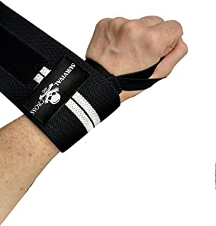 """Survival and Cross Wrist Wraps - 18"""" Professional Quality Training Straps for Support in Weightlifting Powerlifting Bodybuilding and Strength Exercise - Wrist Wraps with Thumb Loops"""