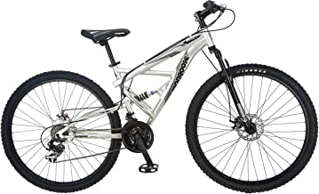 Mongoose Impasse Full Dual-Suspension Mountain Bike, Featuring 18-Inch/Medium Aluminum Frame and 29-Inch Wheels with Disc Brakes, Silver (Renewed)