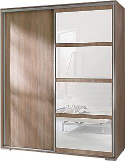FurnitureByJDM - Armoire 2 Portes coulissantes avec Miroir - Largeur: 180cm - Leo (Chêne Sonoma)