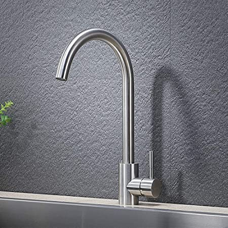Vapsint 360 Degree Swivel Modern Hot Cold Mixer Stainless Steel Bar Kitchen Sink Faucet Easy Installation Good Valued Brushed Nickel Single Handle Kitchen Faucet