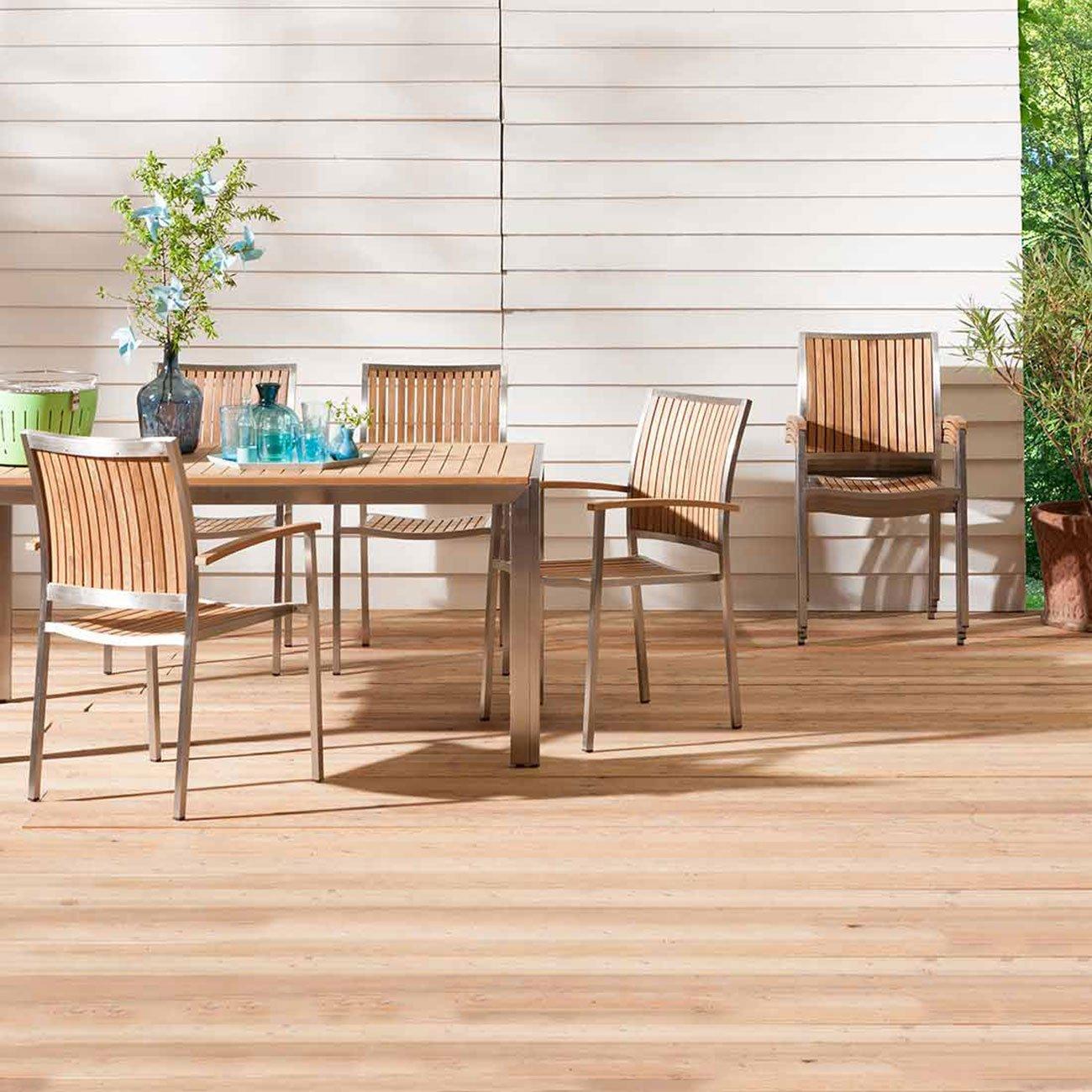 Silla de jardín outliv. Pasadena – Sillón apilable acero inoxidable/teca natural silla de jardín: Amazon.es: Jardín