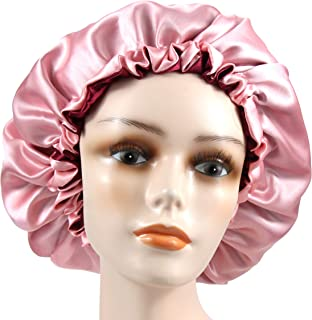 Adjustable Satiny Sleep Cap Hair Bonnet Double Layered Reversible for Women Protective Sleep Hairstyles (Burgundy-Shell Pink)
