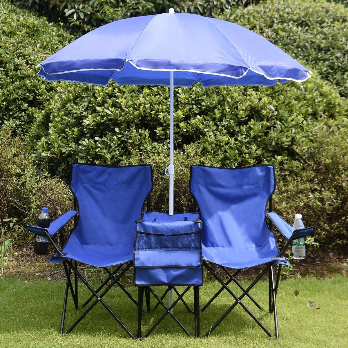 Washington Mall Mali Shop Portable Picnic lowest price Folding W Umbrella Table Chair Double