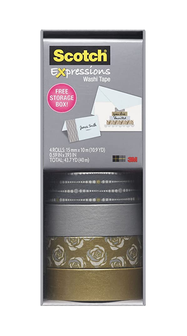 Scotch Expressions Washi Tape, Multi-Pack with Storage Box, Silver and Gold, 4 Rolls (C317-4PK-SILGD)
