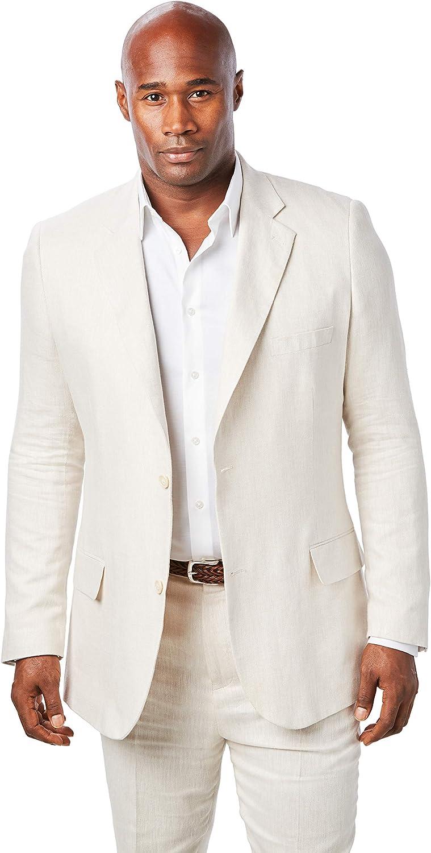 KS Island by Kingsize Men's Big & Tall Linen Blend Two-Button Suit Jacket
