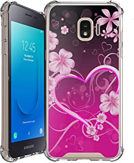 Shockproof Slim Hybrid Case w/Air-Pocket Corners+Easy Grip Bumpers Cover Compatible with Samsung Galaxy J2 / J2 Core (SM-J260T) 2018 Release - Hot Pink Rosy Heart
