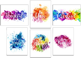 Colorful Abstract Paint Splats Inspirational Wall Art Prints (Unframed) | Set of 6..