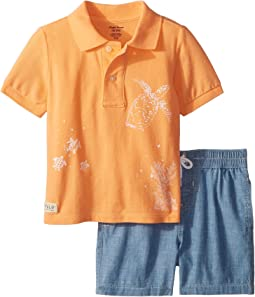 Mesh Polo & Chambray Shorts Set (Infant)