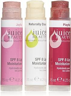 Juice Beauty Lip Trio, SPF 8 Lip Moisturizers, Certified Organic Ingredients, Vegan, Cruelty-Free, Mineral Zinc Lip Balm Set Hydrating w/ Vitamin E & Sunflower Oil, Chemical Free, Paraben Free