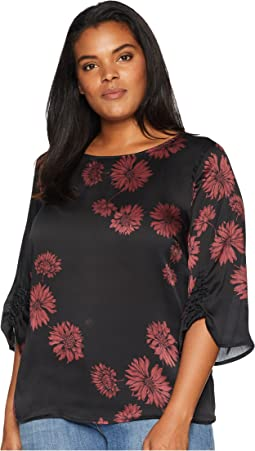 Plus Size Gathered Sleeve Boat Neck Chateau Floral Blouse