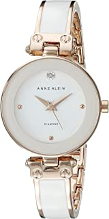 Anne Klein AK/1980WTRG Women's Diamond-Accented Dial White and Rose Gold-Tone Bangle Watch
