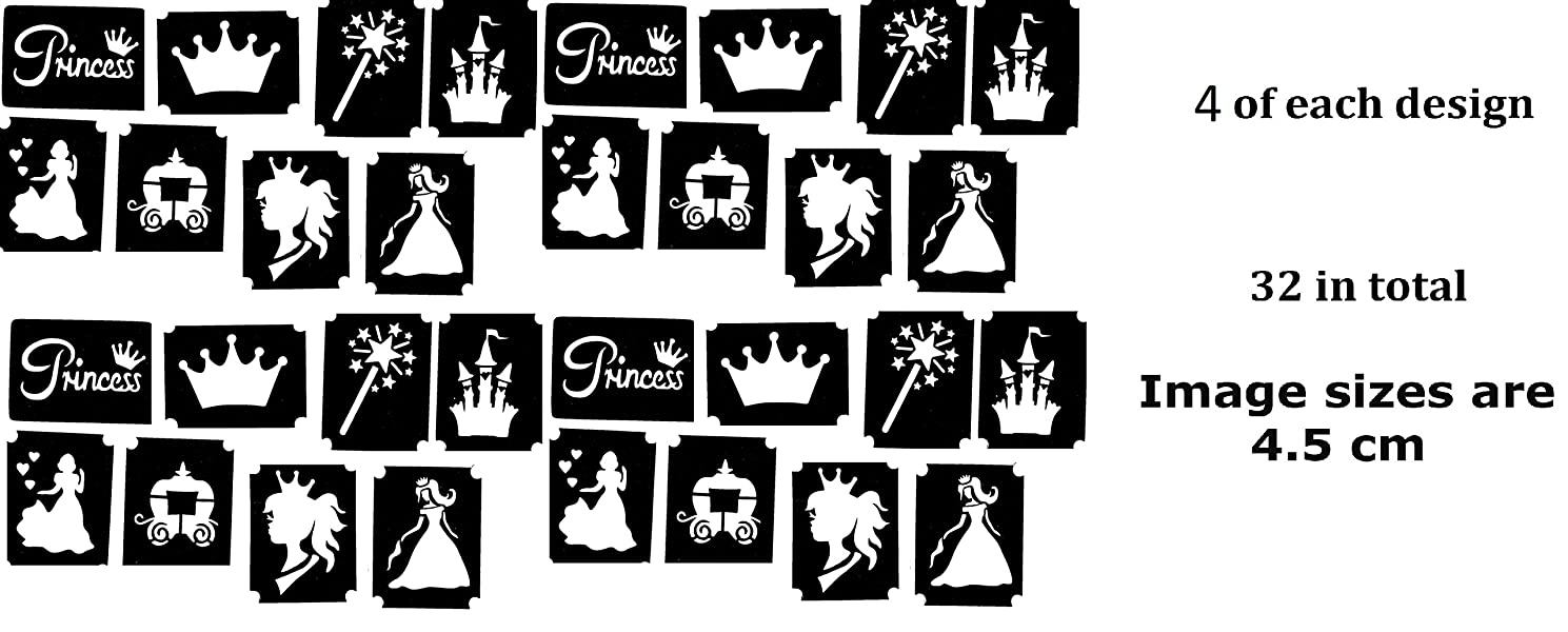 Princess Tattoo Stencil Collections (32 Tattoo Glitter Airbrush Stencil Princess)