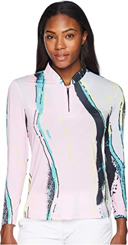 Cotton Candy Print Sunsense® 1/4 Zip Long Sleeve Top with 50 UVP