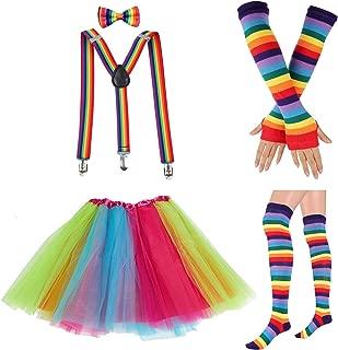 80s Womens Accessory Set,Tutu Skirt,Unicorn Headband, Unicorn Wigs Rainbow Long Gloves Socks,Rainbow Suspenders w/Bow-tie