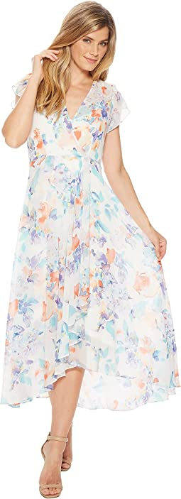 Calvin Klein Floral Print Short Sleeve High-Low Maxi CD8H23HF