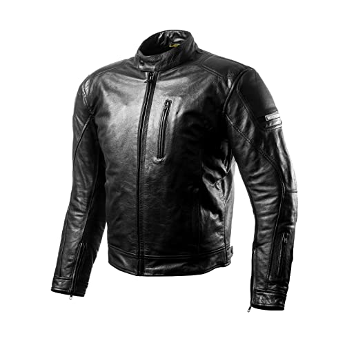 Bikers Gear Australia Classic Vintage Distressed Brando Style Leather Harley Cruiser Jacket with CE 1621-1 Armour Med 38-96 cm
