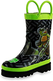 Nickelodeon Boys' TMNT Character Printed Waterproof Easy-On Handles Rubber Rain Boots for Toddler and Kids