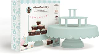 2-in-1 Decorative Cake and Cupcake Stand by Sweet Tooth Fairy | 2 or 3 Tier Cake Display Stand with Three Fun Sign Options | Stores Flat