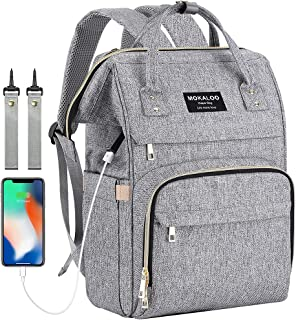 Diaper Bag Backpack, Mokaloo Large Baby Bag, Multi-functional Travel Back Pack, Anti-Water Maternity Nappy Bag Changing Bags with Insulated Pockets Stroller Straps and Built-in USB Charging Port, Gray