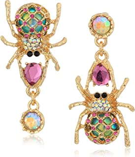 Women's Creepshow Spider Non-Matching Drop Earrings Pink/Antique Gold Drop Earrings