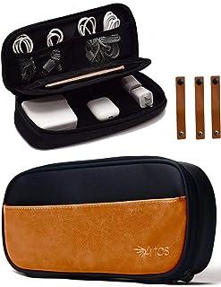 Pu Leather & Canvas Electronics Organizer Case Accessories Bag W/ 3 Leather Cable Straps   Tech, Gadget Zipper Pouch  for ...