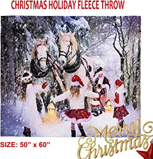 """JYK Fleece Christmas Throw Blanket for Couch, Lightweight Soft Cozy Warm Holiday Flannel Plush Throw Blanket Christmas Winter Theme Blanket 50""""x 60"""" for Home Decor, Sofa, Gift, Outdoor"""