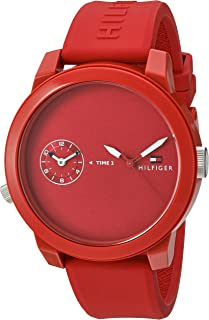 Tommy Hilfiger Men's 'Denim' Quartz Plastic and Rubber Watch, Color:Red (Model: 1791323)