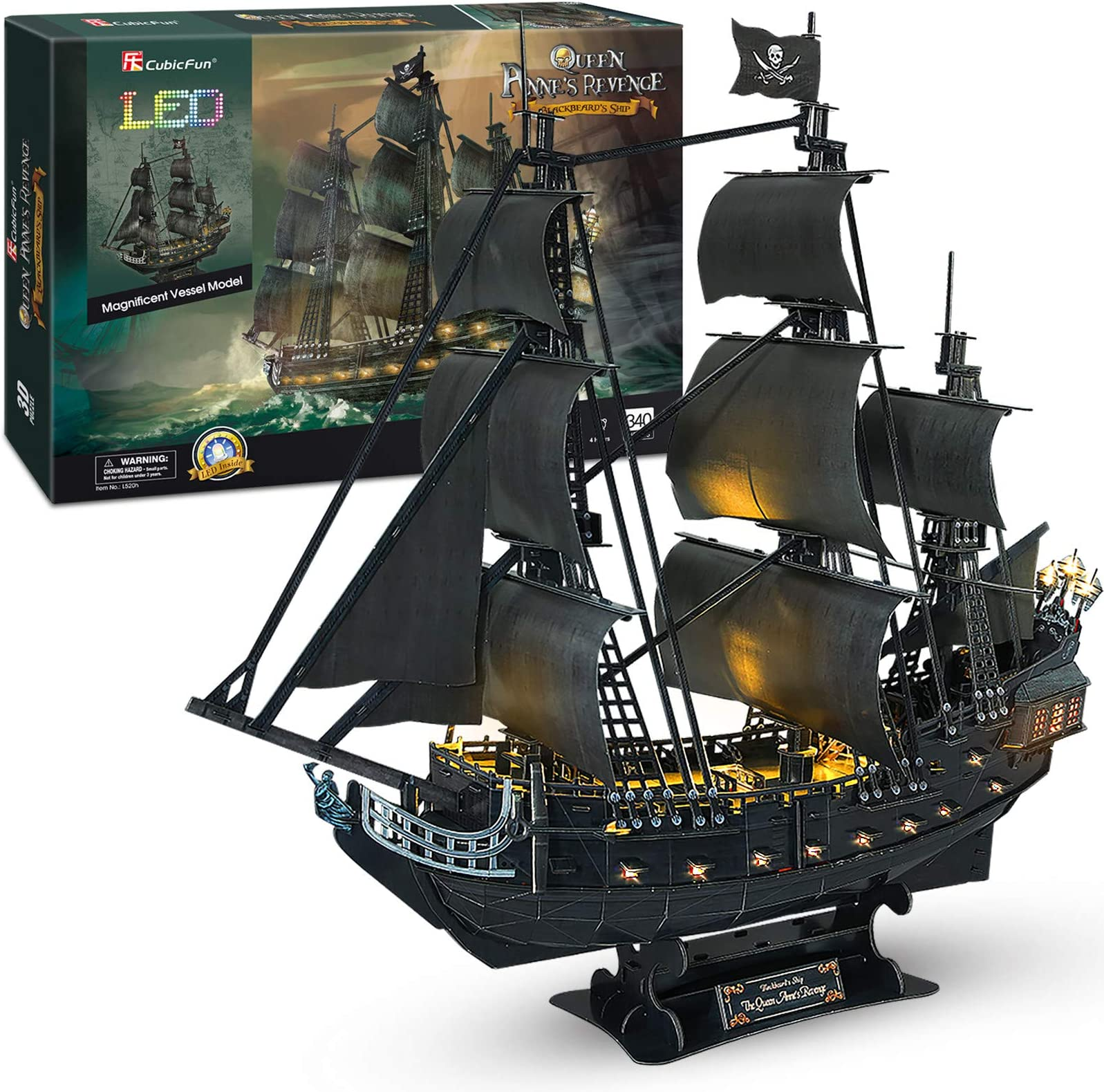 """CubicFun 3D Puzzles 26.6"""" Pirate Ship with 15 LED Bulbs for Adults Sailboat Model Building Kits Hobby Toy, Cool Room Decor Gift for Men Queen Anne's Revenge, Difficult Family Puzzle"""