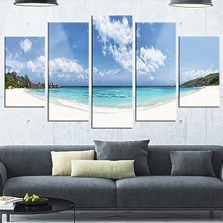 Designart Majestic Seychelles Beach Panorama-Large Seascape Glossy Metal Wall Art, 60x32-5 Panels Diamond Shape