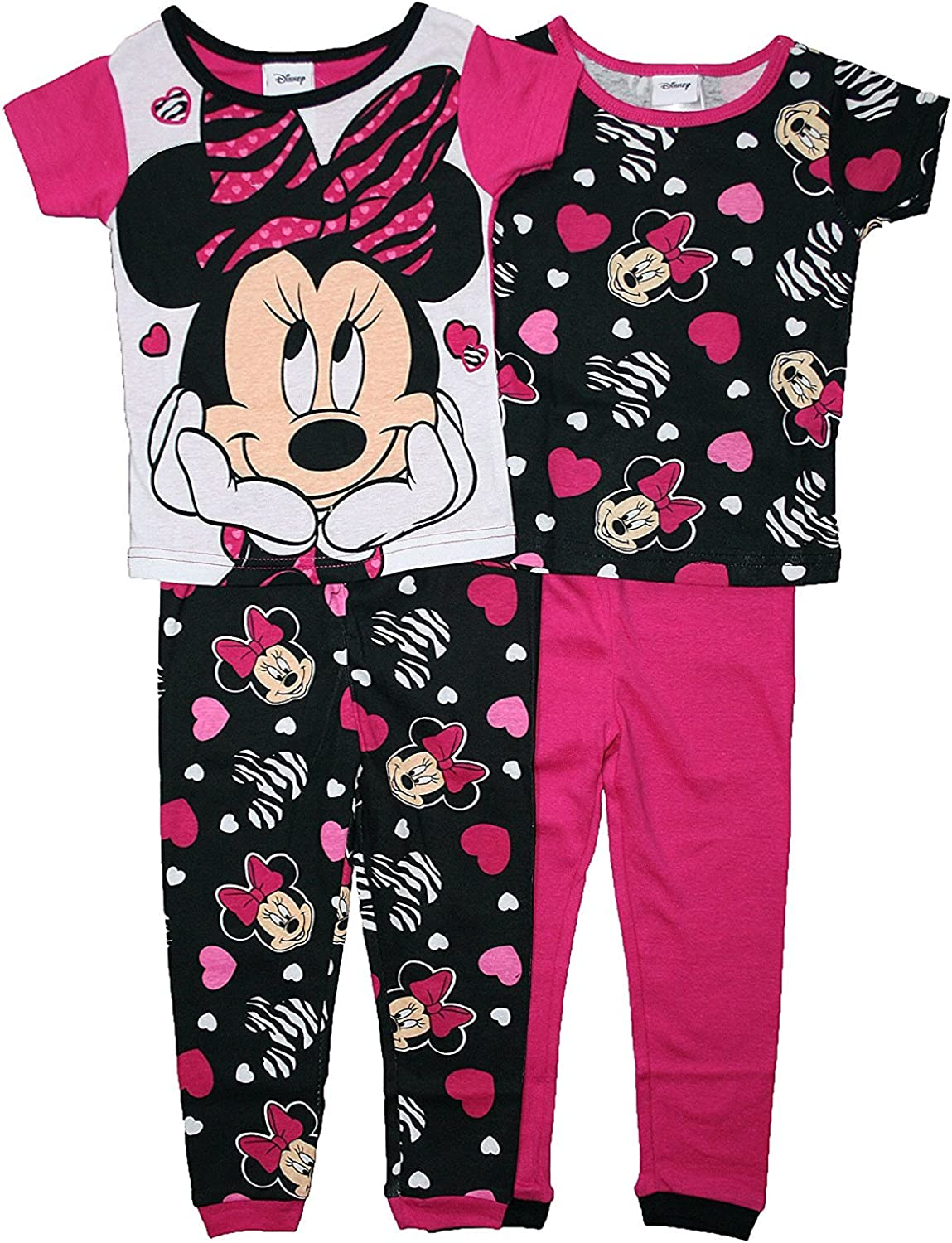 Disney Minnie Mouse Girl 4PC Short Sleeve Tight Fit Cotton Pajama Set Size 3T