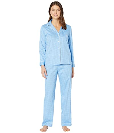 LAUREN Ralph Lauren Cotton Rayon Sateen Woven Long Sleeve Pointed Notch Collar Long Pants Pajama Set (Blue Dot) Women