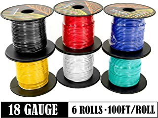 18 Gauge 6 Color Combo 100 Feet per Roll (600 ft Total) Low Voltage Automotive Primary Wire for Car Stereo Amplifier Remote 12 Volt Trailer Harness Hookup Wiring