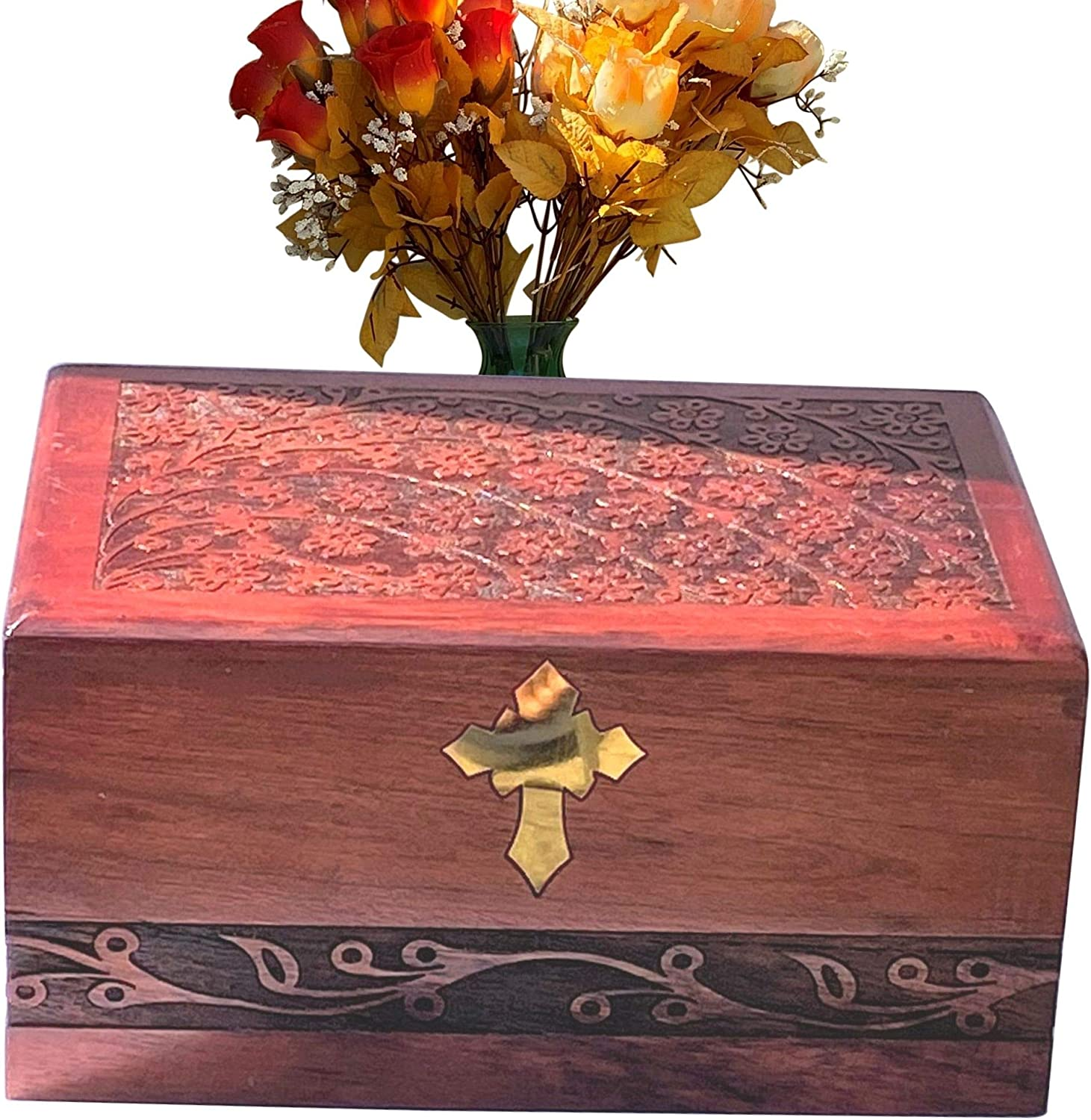 Mother Urns for Human Ashes Wooden Adult Extra Large Memorial Cremation Funeral Burial Decorative Tree of Life Ash Box for Woman Brother xlarge size Wood Humans Remains Mom Dad Male Child Men