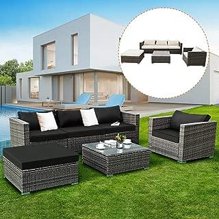 Tangkula 6PC Patio Furniture Set Outdoor Garden Backyard Poolside All Weather PE Rattan Wicker Steel Frame Sectional Cushioned Seat Sofa Conversation Set (Grey)