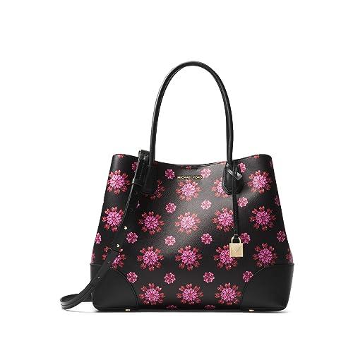 82b6a0b6c8278 Michael Kors Mercer Corner Studio Top Zip Tote - Black Ultra Pink