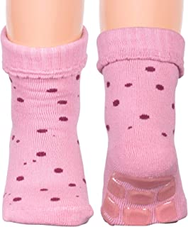 Melton Little Boys' and Girls' Terrycotton Non-Skid Gripped Animal Socks - Pink - 3-6M