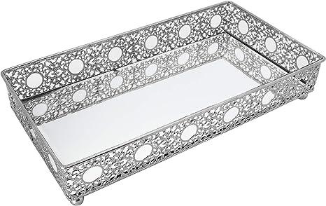 Amazon Com Bathroom Vanity Tray Decorative Tray Mirror Tray Perfume Collection Tray Candle Tray Home Kitchen