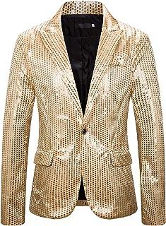 WHATLEES Mens Blazer Sequins Long Sleeve Suit Jacket Party Costume