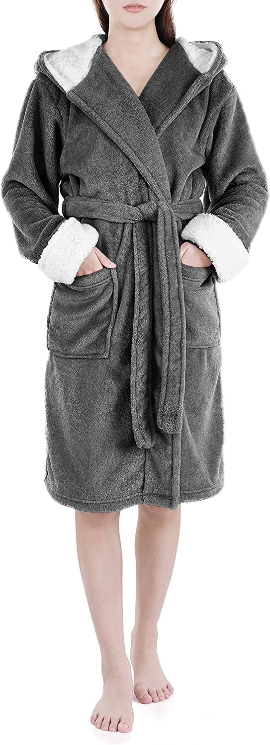 GENUWIN Fleece Robes Long-awaited for Women Plush Robe with Hood Wome At the price Fluffy