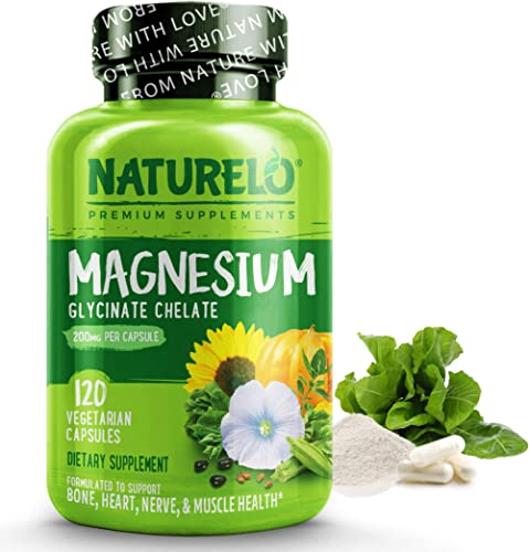 NATURELO Magnesium Glycinate Supplement - 200 mg Natural Glycinate Chelate with Organic Vegetables - Best for Sleep, ...